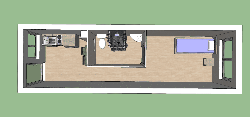 Mod le de studio de 30 m pour r sidence modulaire for Plan amenagement container habitable