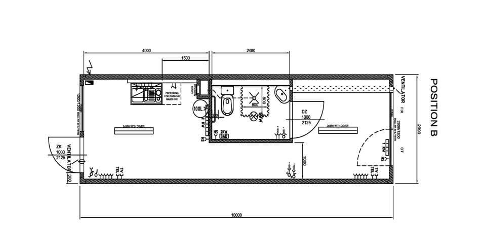 plan coté du studio container de 30 m² version résidentielle
