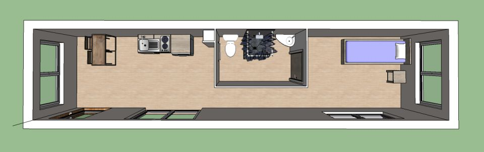 Plan 3D studio container 36 m²